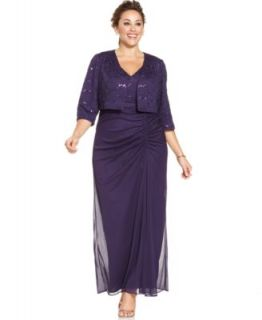 Alex Evenings Plus Size Glitter Gown and Jacket   Dresses   Plus Sizes