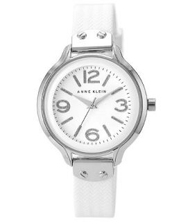 Anne Klein Womens White Silicone Strap Watch 38mm AK/1615WTWT   Watches   Jewelry & Watches