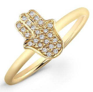 14K Yellow Gold Pave Diamond Hamsa Ring Jewelry