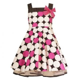 Rare Editions Girls 2T 6X BLACK WHITE FUCHSIA PINK DOT PRINT Special Occasion Wedding Flower Girl Easter Birthday Party Dress   2T Clothing