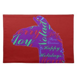 Llama Christmas Text Merry Christmas, Peace, Joy Placemats