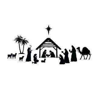 Nativity Scene Silhouette   Vinyl Wall Art Decal for Homes, Offices, Kids Rooms, Nurseries, Schools, High Schools, Colleges, Universities   Wall Decor Stickers