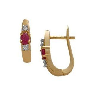10 Karat Yellow Gold Ruby Gemstone & Diamond Earrings Jewelry