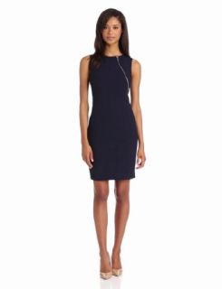 Calvin Klein Women's Sheath Dress With Zipper Detail, Navy, 2