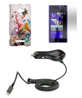 HTC Windows Phone 8X (Verizon, AT&T, T Mobile) Combo   Splash Floral Vines Design Shield Case + Atom LED Keychain Light + Screen Protector + Micro USB Car Charger Cell Phones & Accessories