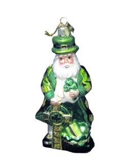 Kurt Adler Noble Gems Glass Irish Santa Christmas Ornament   Decorative Hanging Ornaments