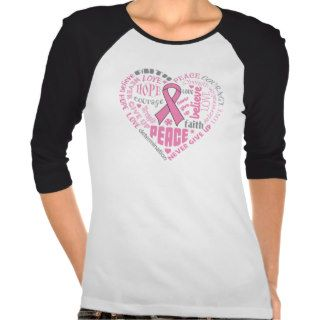 Breast Cancer Awareness Heart Words Tees