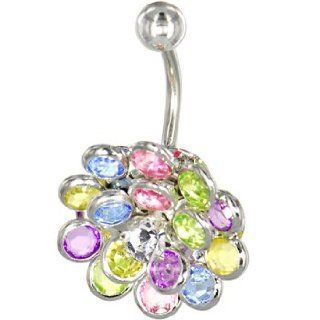 Crystalline Gem Multi Burst Belly Ring Belly Button Piercing Rings Jewelry