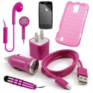 Boost ZTE Force Pink Case, USB Car Charger Plug, USB Home Charger Plug, USB 2.0 Data Cable, Metallic Stylus Pen, Stereo Headset & Screen Protector (7 Items) Retail Value $89.95 Cell Phones & Accessories