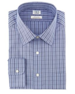 Long Sleeve Check Poplin Dress Shirt, Ocean