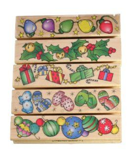 Hero Arts Christmas Borders Rubber Stamps Wood Handle 5 Stamps