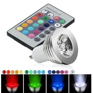 INSTEN 3W GU10 16 Colors Changing RGB LED Light Bulb With Remote Light Bulbs