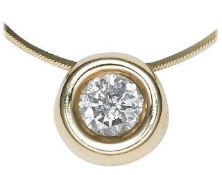 14k Yellow Gold Round Diamond Bezel Solitaire Pendant (1/4ct, J, I3) Pendant Necklaces Jewelry