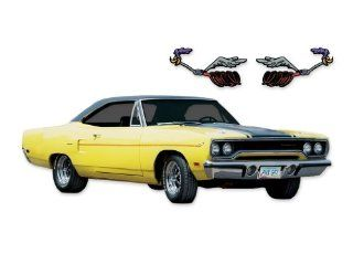 1970 Plymouth Road Runner COMPLETE REFLECTIVE Gold Dust Trail Decals & Stripes Kit   REFLECTIVE BLACK Automotive