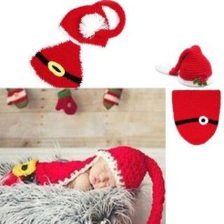 Infant Newborn Baby Boy Girl Knit Crochet Christmas Hat Photography Xmas Clothes (Red Flower Hat+Sleeping Bag) Clothing