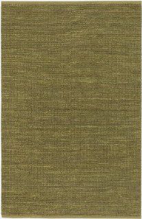 5' x 8' Crestele Solid Moss Green Hand Woven Jute Area Throw Rug   Handmade Rugs
