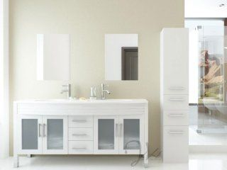 "63"" Grand Regent White Double Sink Contemporary Modern Bathroom Vanity Cabinet with Phoenix Stone Top"