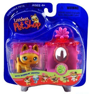 "Hasbro Year 2006 Littlest Pet Shop Portable Pets ""Dog Days Pets"" Series Collectible Bobble Head Pet Figure Set #212   Brown German Shepherd Puppy Dog with Tiara and Vanity Carry Case (53594) Toys & Games"