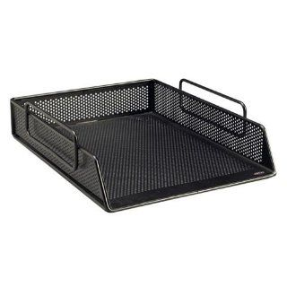 Rolodex 99100 Punched Metal and Wire Mesh Letter Tray, Black  Office Desk Trays
