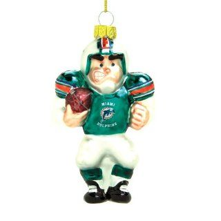 Pack of 3 NFL Miami Dolphins Glass Football Player Christmas Ornaments 4""