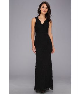 Adrianna Papell Sleeveless V Neck Lace Gown Womens Dress (Black)