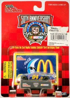 1998   Racing Champions / NASCAR 50th Anniversary  Bill Elliott #94   McDonald's / Coca Cola / Mac Tonight   164 Scale Die Cast Metal   Collector Card & Display Stand   MOC   Out of Production   Limited Edition   Collectible Toys & Games