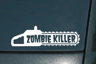 "ZOMBIE KILLER CHAINSAW   8"" WHITE   Vinyl Window Decal Sticker   NOTEBOOK, LAPTOP, WALL, WINDOW, CAR, TRUCK, MOTORCYCLE Automotive"