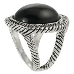 Journee Collection Rhodium plated Antique style Black Enamel Dome Ring Journee Collection Fashion Rings