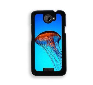 Jelly Fish Blue Nautical   Protective Designer BLACK Case   Fits HTC One X / One X+ Cell Phones & Accessories