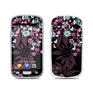 Dark Flowers Design Protective Decal Skin Sticker (High Gloss Coating) for Samsung Galaxy S III (Galaxy S3) Mini GT i8190 Cell Phone Cell Phones & Accessories