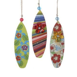 "Pack of 24 Beach Party Bead & Glitter Wooden Surfboard Christmas Ornaments 5.25""   String Lights"