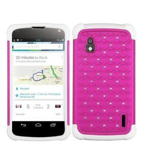 Hard Plastic Snap on Cover Fits LG E960 Nexus 4 Hot Pink/Solid White Luxurious Lattice Dazzling TotalDefense + A Gold Color Stylus/Pen T Mobile Cell Phones & Accessories