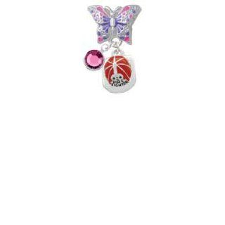 Red Enamel Firefighter Helmet Butterfly Charm Bead Dangle with Crystal Drop Jewelry