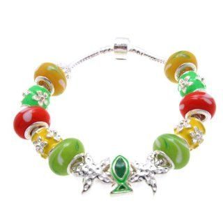 "SWEETIE 8 Jewelry Women's Tropical Sea Life Murano Glass Beads and Charms Bracelet, 7.5"" Snake Charm Bracelets Jewelry"