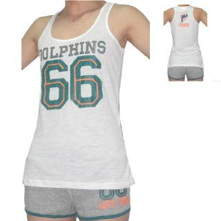 2 PIECE SET WOMENS Pink Victoria's Secret NFL Miami Dolphins #66 Tank Top & Shorts  Base Layer Sets  Sports & Outdoors