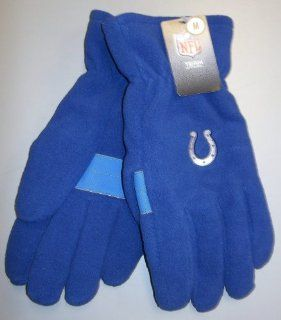 NFL Indianapolis Colts Royal Blue Embroidered Logo Fleece Gloves Size Medium  Sports Fan Apparel  Sports & Outdoors