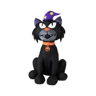 Gemmy Airblown Inflatable 4 Foot Halloween Black Cat with Witch Hat Yard Art  Patio, Lawn & Garden