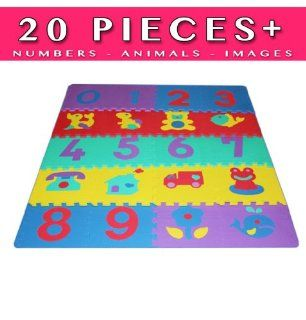 Play Mat 20 + Pieces (Set Includes 10 Numbers and 10 Images Puzzle)  Tile Play Mat  Baby