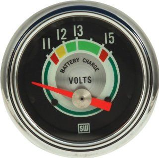 "Stewart Warner 375T Green Line 2 1/16"" Voltmeter Gauge Automotive"