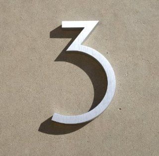"Modern House Number Aluminum Contemporary Font Number Three ""3"" 6 inch  Address Plaques  Patio, Lawn & Garden"