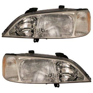 1999 2000 2001 Acura TL Headlight Headlamp Halogen Composite Front Head Light Lamp Pair Set Right Passenger AND Left Driver Side (99 00 01) Automotive