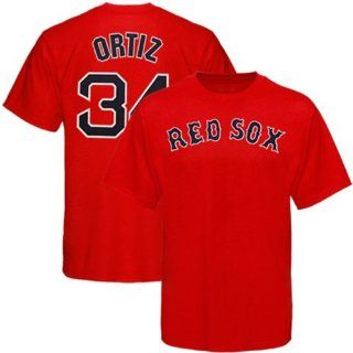 Red Sox   Majestic MLB Name and Number Tee   Men's   Ortiz, David (sz. XL, Red  Ortiz, David  Red Sox)  Sports Fan T Shirts  Sports & Outdoors