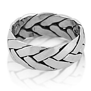 Mens Sterling Silver Braided Ring   13 TrendToGo Jewelry