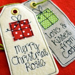 personalised birthday/christmas gift tag by sew very english