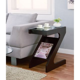Furniture of America Enzo Modern Black Tinted Tempered Glass Top Chairside End Table with Magazine Rack Furniture of America Coffee, Sofa & End Tables