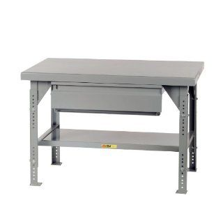 "Little Giant WW 3660 HD ADJ Heavy Duty Welded Steel Workbench with Drawer, Gray, 10000 lbs Load Capacity, 28""   38"" Adjustable Height x 60"" Width x 36"" Depth Service Carts"