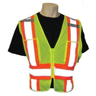 Global Glove GLO 002ADJ FrogWear Class 2 Side Adjustment Safety Vest with 3M Scotchlite Reflective, Fits Medium to Extra Large, Lime (Case of 50)