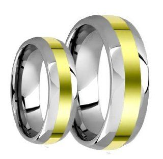 Tungsten Carbide His (8mm) & Hers (6mm) 18k Two Tone Gold Wedding Ring Band Set (4) Jewelry