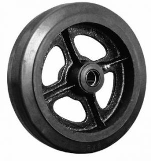 "EZ Roll WEZ 0420 MORR 4"" Diameter X 2"" Width Rubber Tread Cast Iron Core Wheel, 300 lbs Load Capacity Plate Casters"