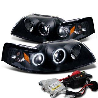 High Performance Xenon HID Ford Mustang CCFL Projector Headlights with Premium Ballast   Black with 8000K Crystal Blue HID Automotive